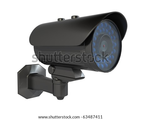 Security camera, Isolated on a white background. Clipping path included. - stock photo