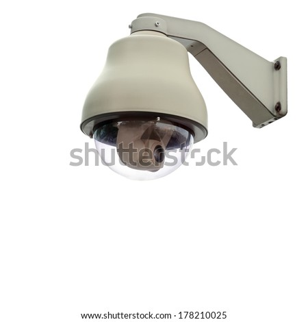 Security camera isolated on white background, with clipping paths.