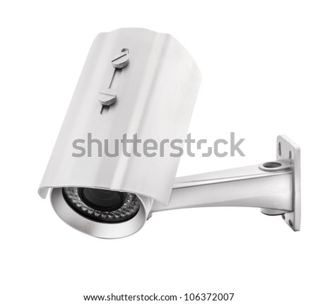 Security Camera, isolated on white, with clipping paths