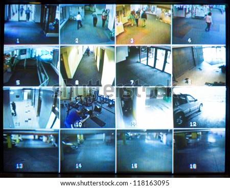 Security camera monitor - stock photo