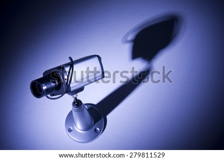 Security camera monitors at night - stock photo
