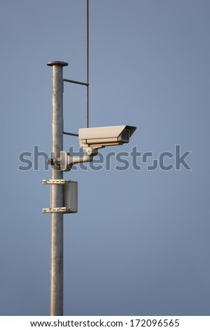 Security camera on a mast