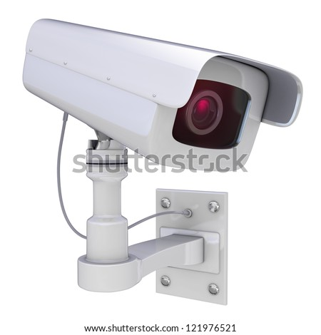 Security camera on a white background, 3D render - stock photo