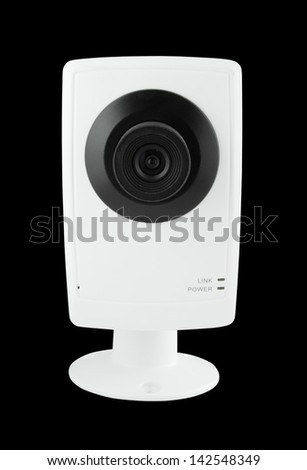security camera on black background