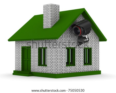 security camera on house. Isolated 3D image - stock photo
