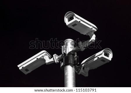security camera on street horizon - stock photo
