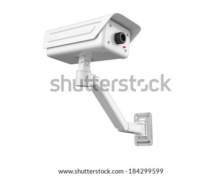 Security camera on white background. 3D image