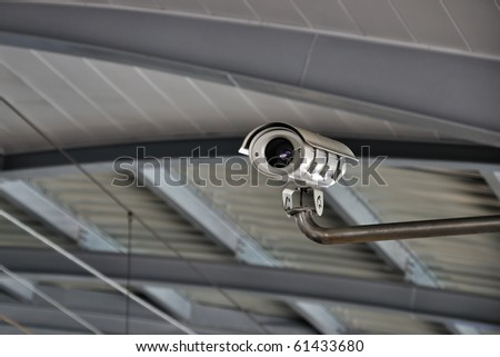 Security Camera or CCTV at airport - stock photo