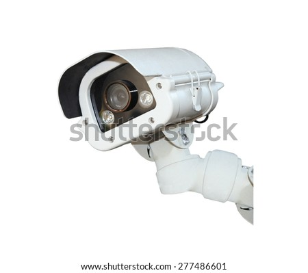 Security Camera or CCTV isolate on white background . - stock photo