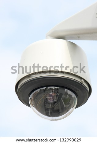 security camera to monitor the crossings citizens and supporters of the stadium - stock photo