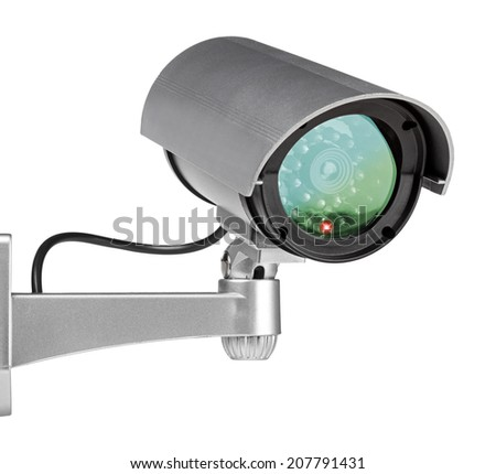security camera wall mounted on white background - stock photo