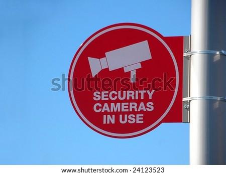 security camera warning sign - stock photo