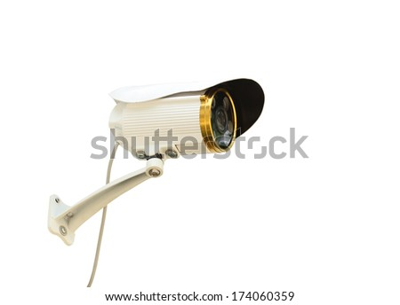 Security camera (with clipping path) isolated on white background