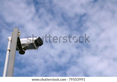 Security camera with sky background