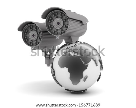 Security cameras and earth globe - stock photo