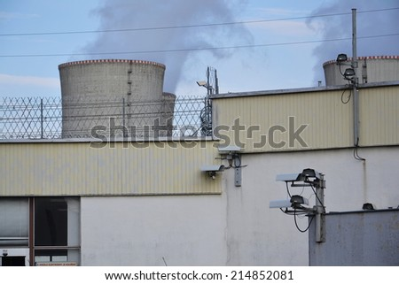 Security cameras at nuclear power plant - stock photo