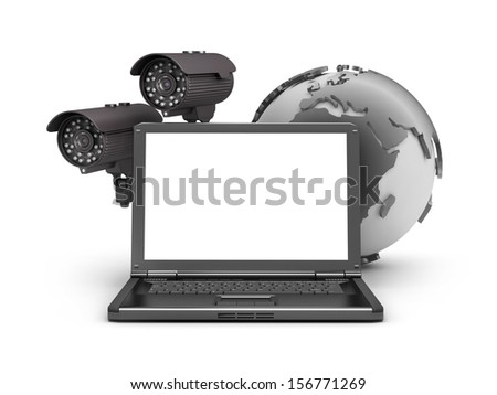 Security cameras, laptop and earth globe - stock photo