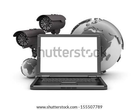 Security cameras, laptop and earth globe on white background - stock photo