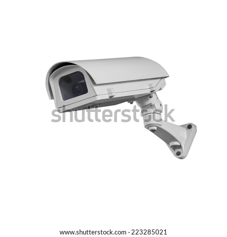 Security cameras monitor the movement Isolated on white with clipping path. - stock photo