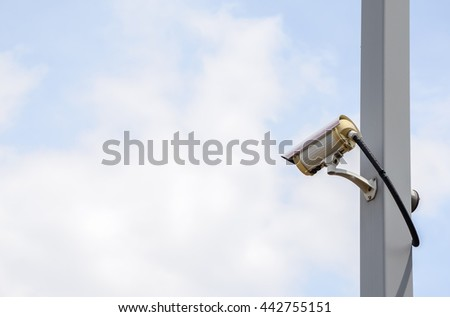 Security cameras or CCTV  on  pole - stock photo