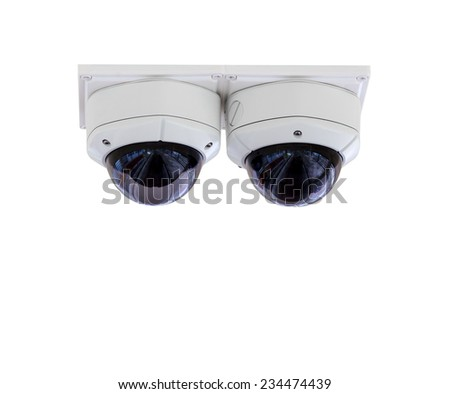 Security CCTV camera, isolated on white background with clipping path - stock photo