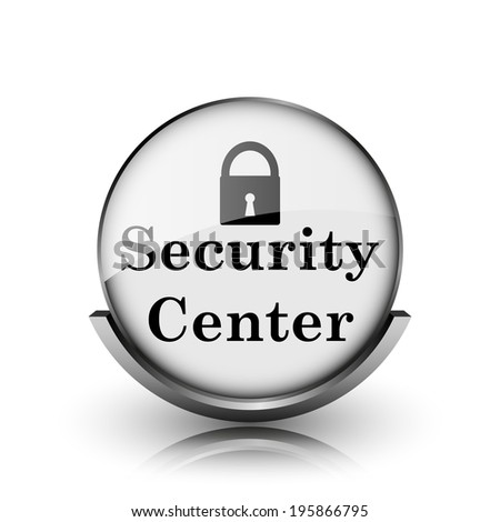 Security center icon. Shiny glossy internet button on white background.