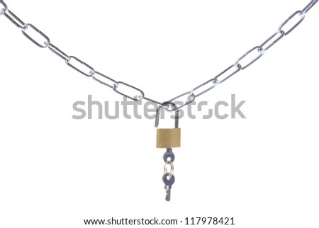 security chain and padlock on white background - stock photo
