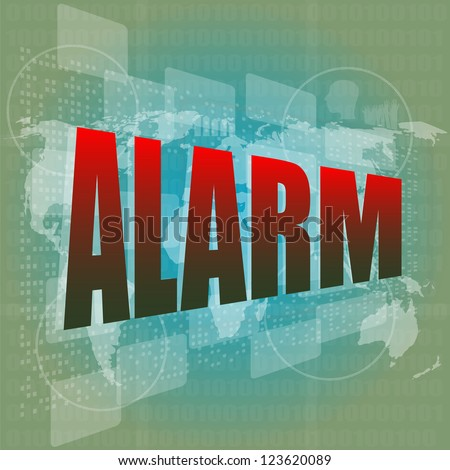 Security concept: alarm word on digital screen, raster