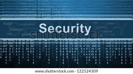 Security concept. Binary code, technology background - stock photo