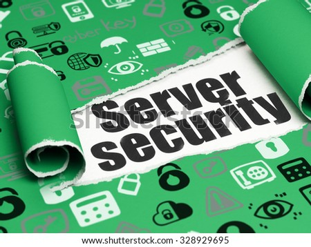 Security concept: black text Server Security under the curled piece of Green torn paper with  Hand Drawn Security Icons