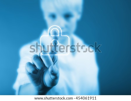 Security concept - business woman and padlock sign in color - stock photo
