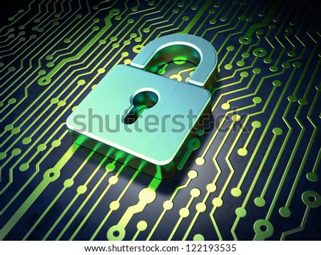 Security concept: circuit board with closed padlock icon, 3d render - stock photo