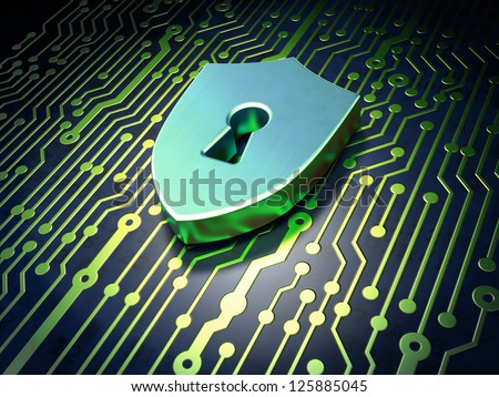 Security concept: circuit board with Shield With Keyhole icon, 3d render - stock photo