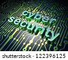Security concept: circuit board with word cyber security, 3d render - stock photo