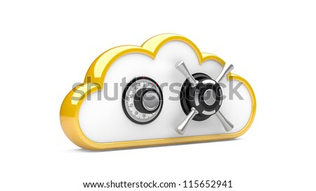 Security concept. Combination lock and cloud. 3D image on white - stock photo