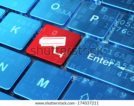Security concept: computer keyboard with Cctv Camera icon on enter button background, 3d render - stock photo