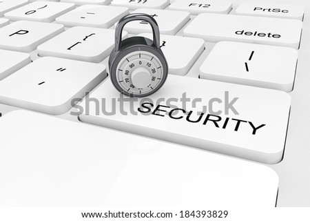 Security concept. Extreme closeup chrome padlock on a keyboard - stock photo