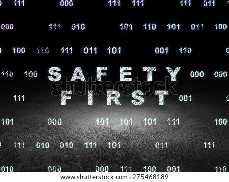 Security concept: Glowing text Safety First in grunge dark room with Dirty Floor, black background with Binary Code, 3d render - stock photo