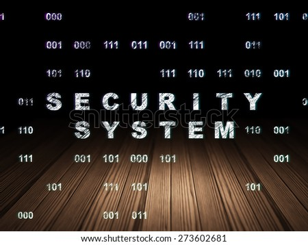 Security concept: Glowing text Security System in grunge dark room with Wooden Floor, black background with Binary Code, 3d render - stock photo
