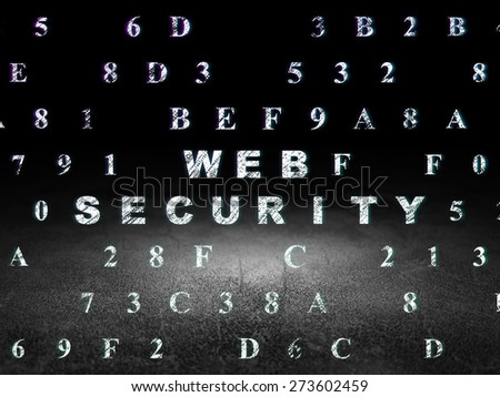 Security concept: Glowing text Web Security in grunge dark room with Dirty Floor, black background with Hexadecimal Code, 3d render