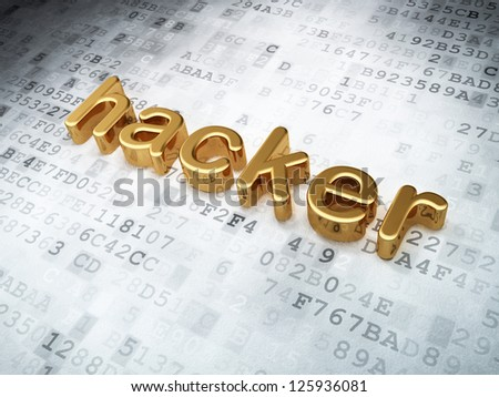 Security concept: Golden Hacker on digital background, 3d render