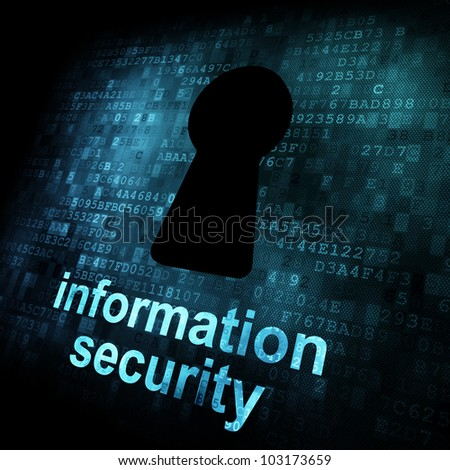 Security concept: Keyhole on digital screen, contrast, 3d render - stock photo