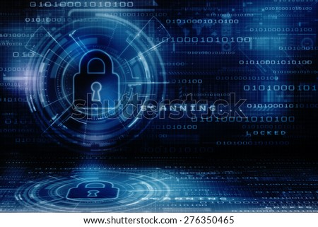 Security concept: Lock on digital screen, contrast, 3d render - stock photo