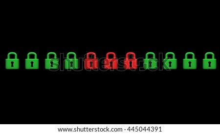 Security concept: lock with different color, black background, 3D illustration - stock photo