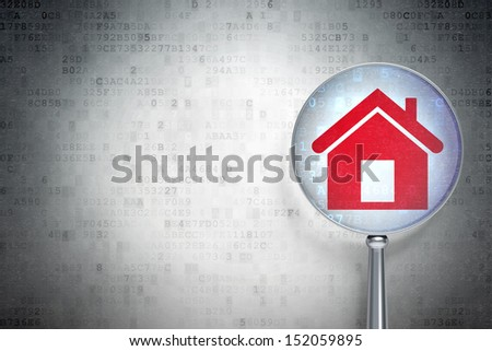 Security concept: magnifying optical glass with Home icon on digital background, empty copyspace for card, text, advertising, 3d render - stock photo