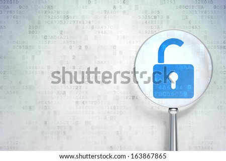 Security concept: magnifying optical glass with Opened Padlock icon on digital background, empty copyspace for card, text, advertising, 3d render - stock photo