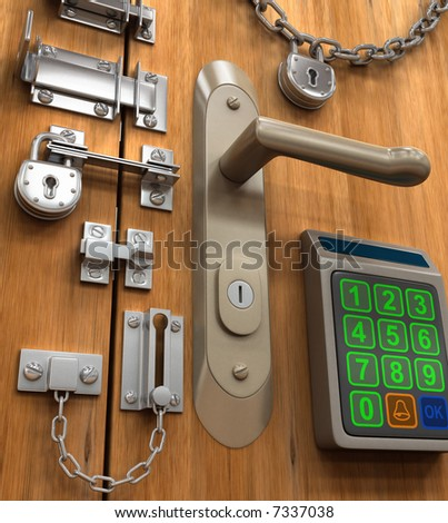 Security Concept. Many lock in only one door. - stock photo