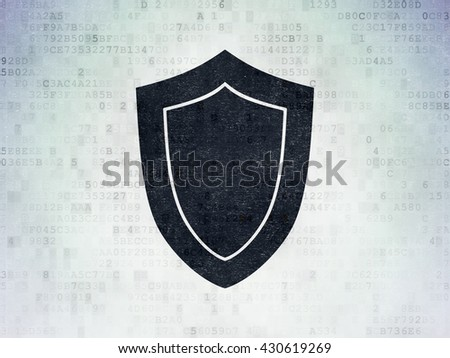 Security concept: Painted black Shield icon on Digital Data Paper background - stock photo