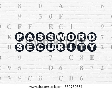 Security concept: Painted black text Password Security on White Brick wall background with Hexadecimal Code