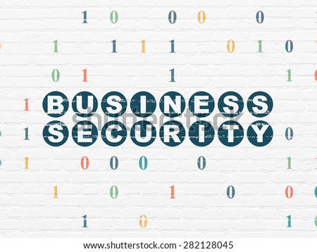 Security concept: Painted blue text Business Security on White Brick wall background with Binary Code, 3d render - stock photo